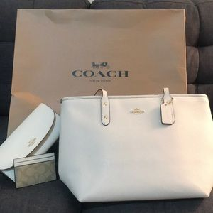 NWT Coach City Zip Crossgrain Leather Tote, Wallet